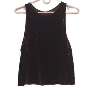 Wilfred Burgundy Velvet and Silk Tank